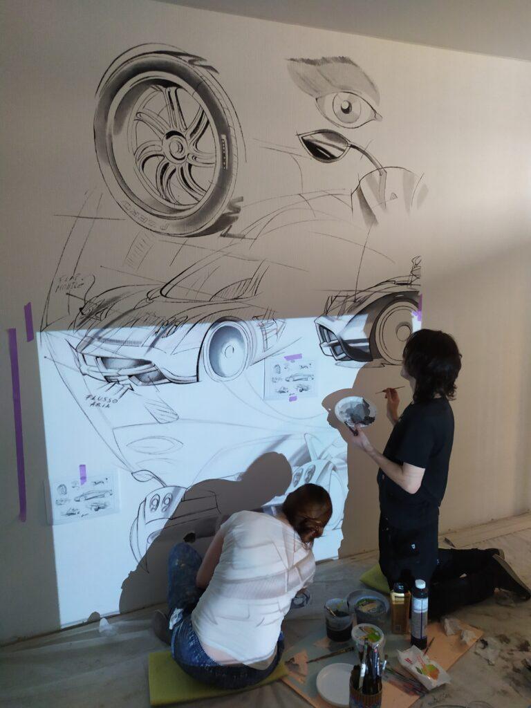 рисунок машины на стене детской