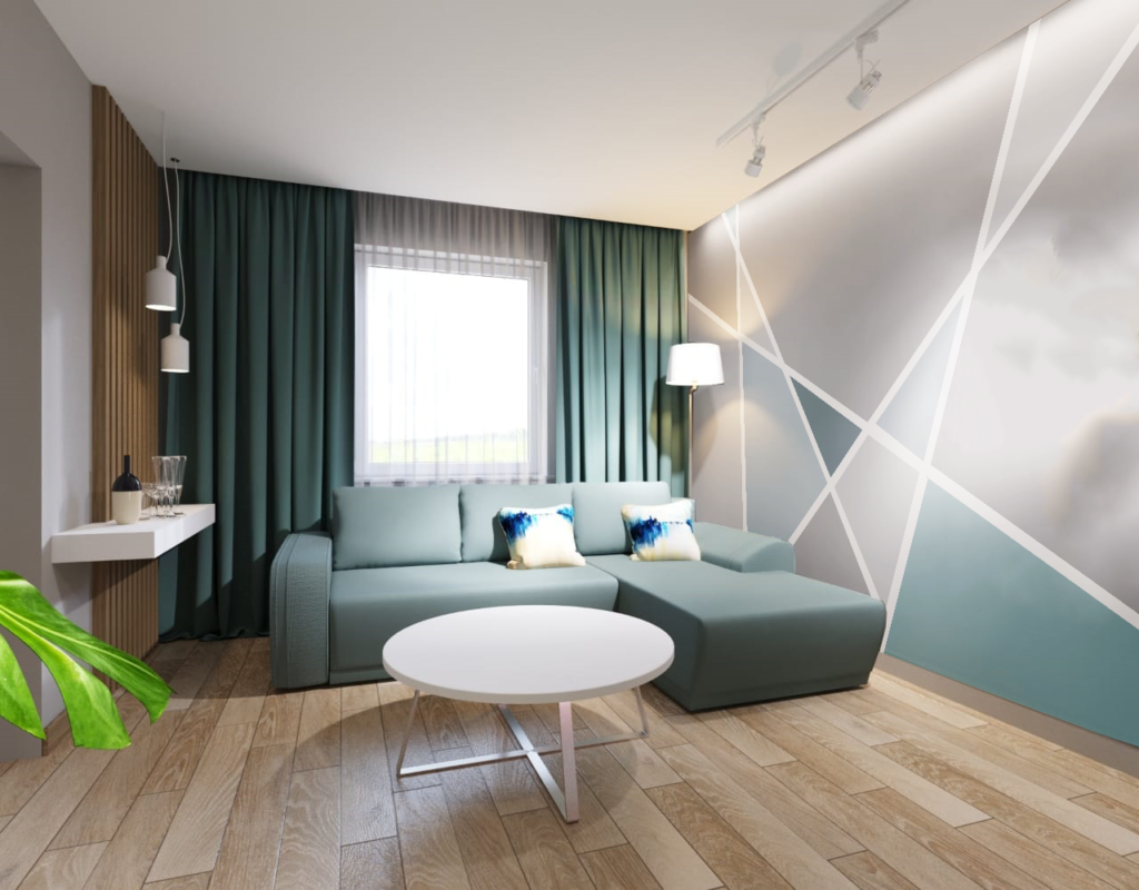 роспись стен в квартире - простая геометрия