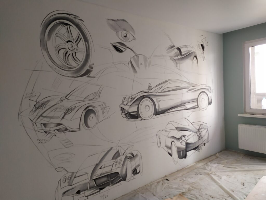 машина на стене детской