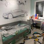 Роспись стен в детской - Спорткар для мальчика