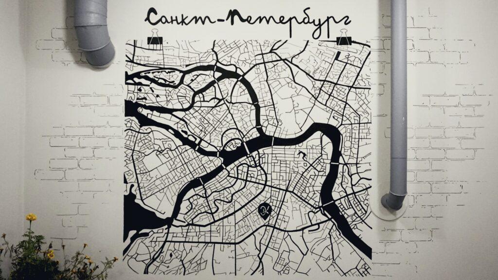 карты на стену санкт петербург