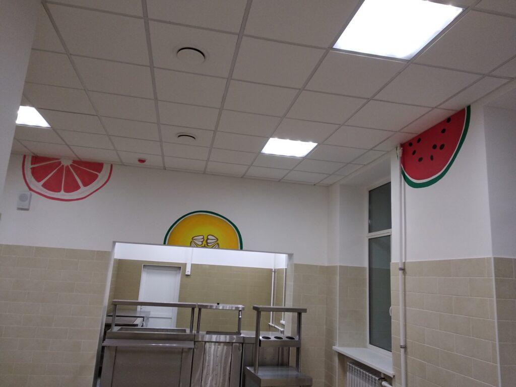 дизайн стен в школьной столовой