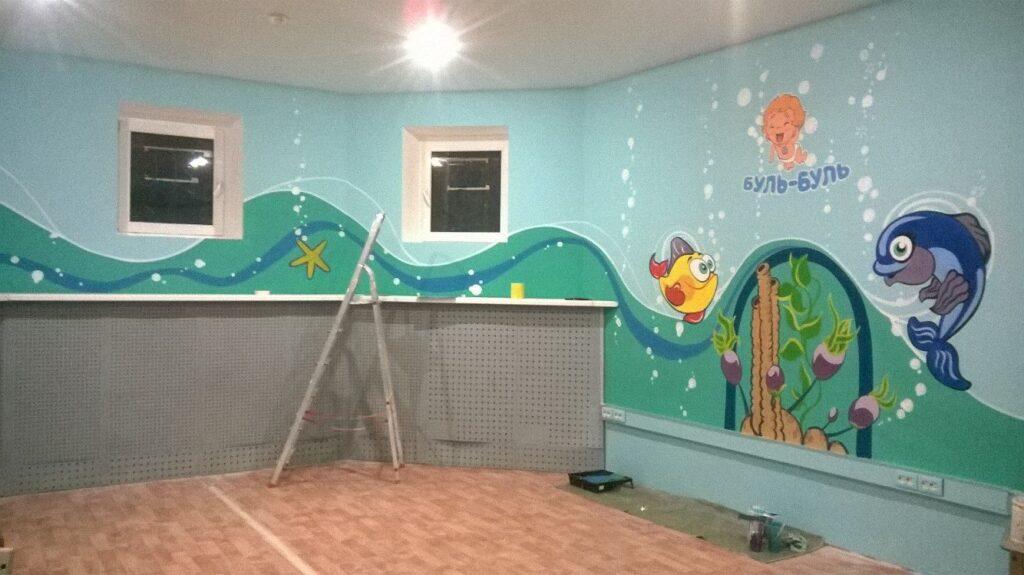 роспись стен в детском саду фото