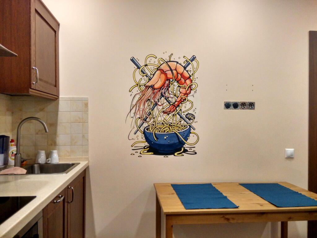 креветки на кухне фото стена