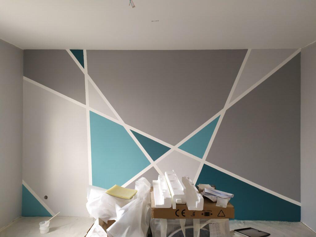 роспись стен фото в квартире геометрия