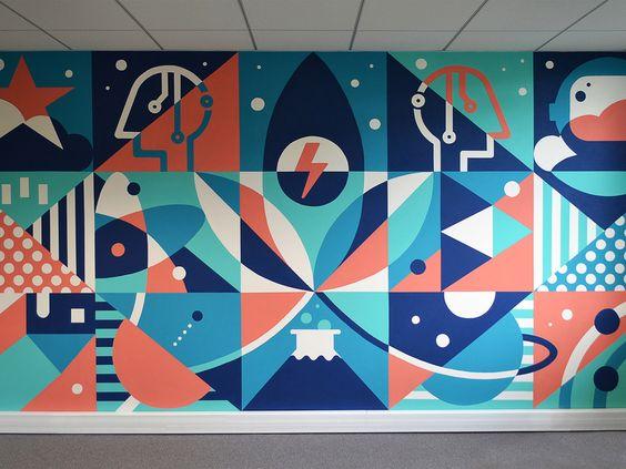 абстрактная роспись стен