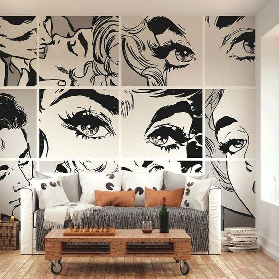 черно-белая роспись стен