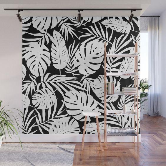 черное белая стена