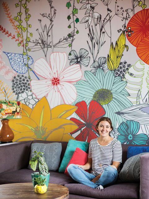 цветы как роспись стен