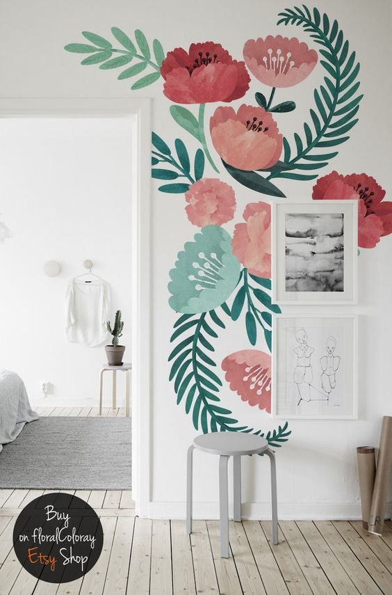 цветы на стене роспись