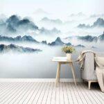 Горы на стене - простая роспись стен