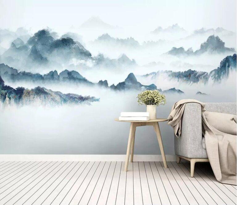 Горы на стене – простая роспись стен