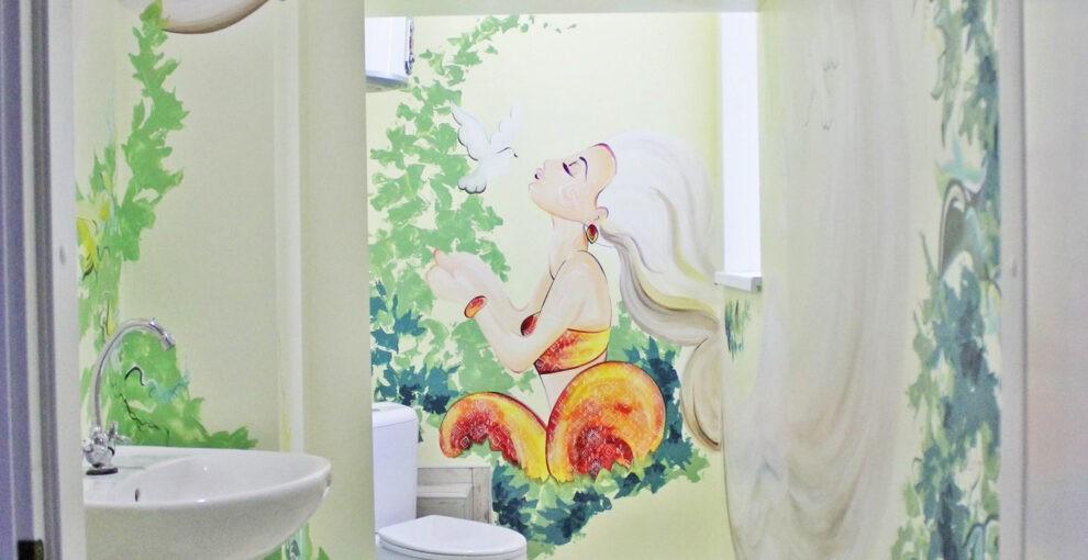 Роспись в ванной и туалете
