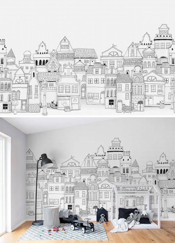 роспись стен город черно белый