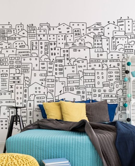роспись стен город рисунок