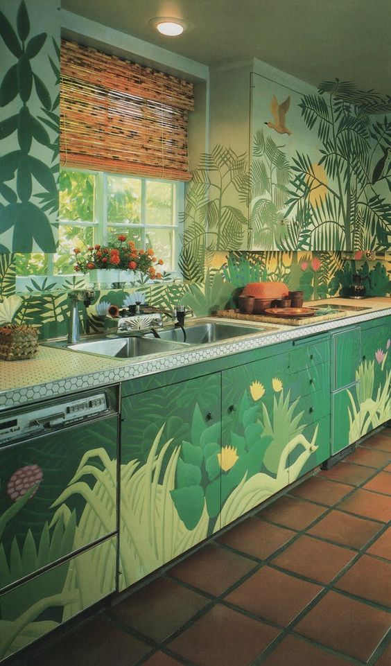 роспись в интерьере кухни