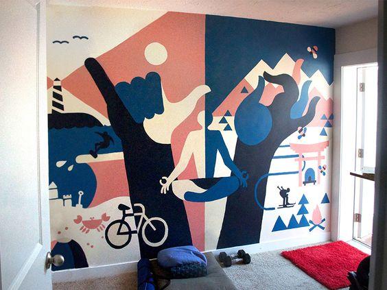роспись стен спорт зал в интерьере