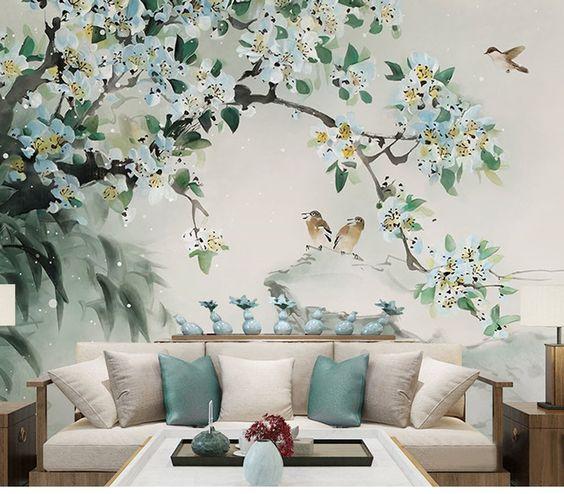 рисунок в спальне дерева
