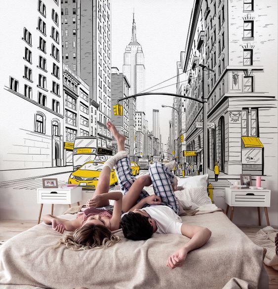 город в спальне на стене