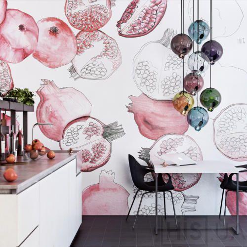 гранаты роспись стен на кухне
