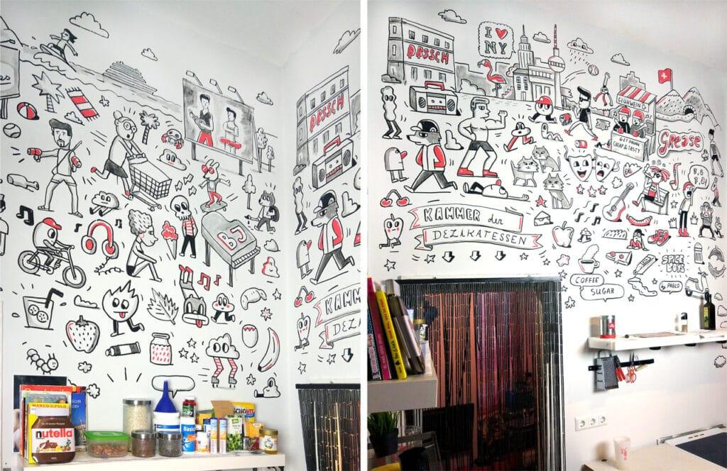 люди на стене кухни