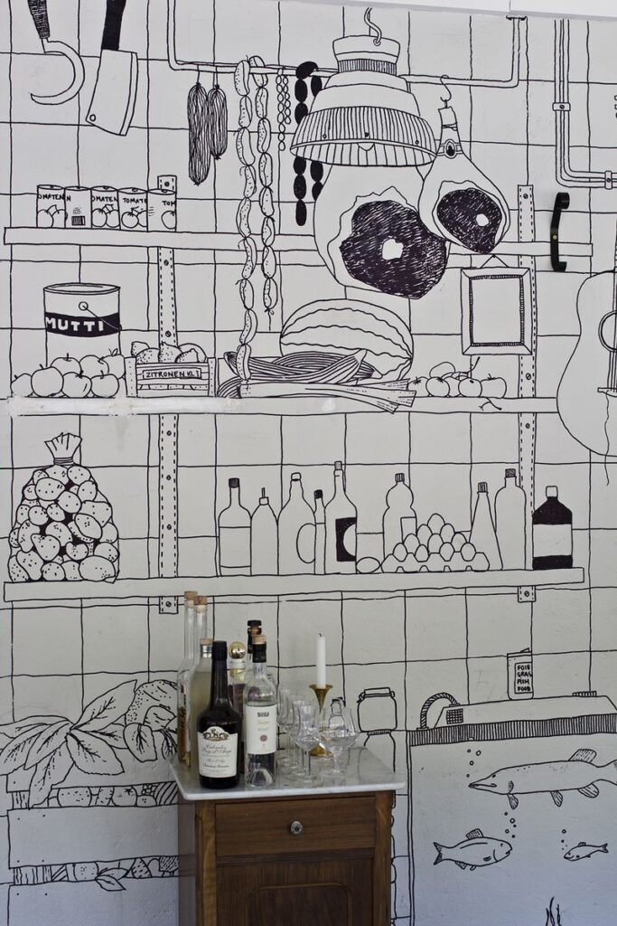 рисунки на стене кухни