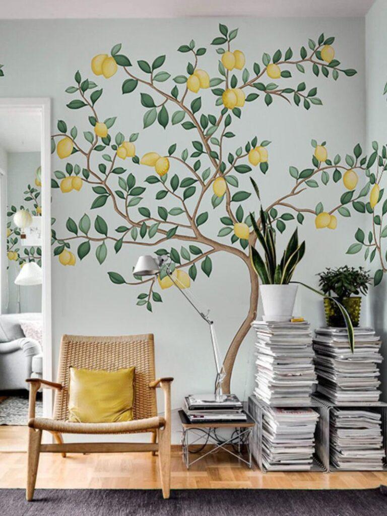 фото росписи стен в гостиной