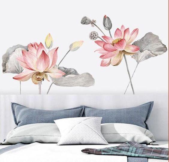 роспись стен в спальне цветами