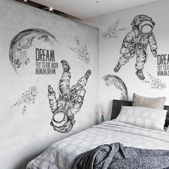 роспись в спальне космос