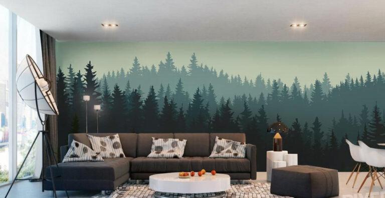 Лес на стене красками в интерьере