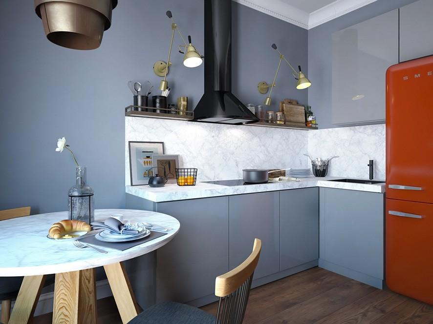 интерьер кухни со светом