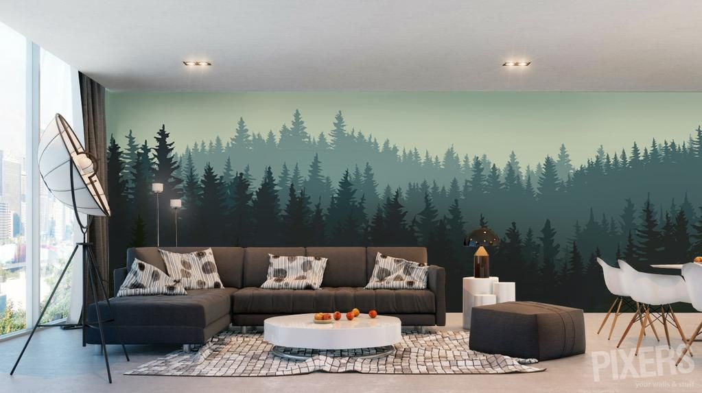 лес на стене спальни