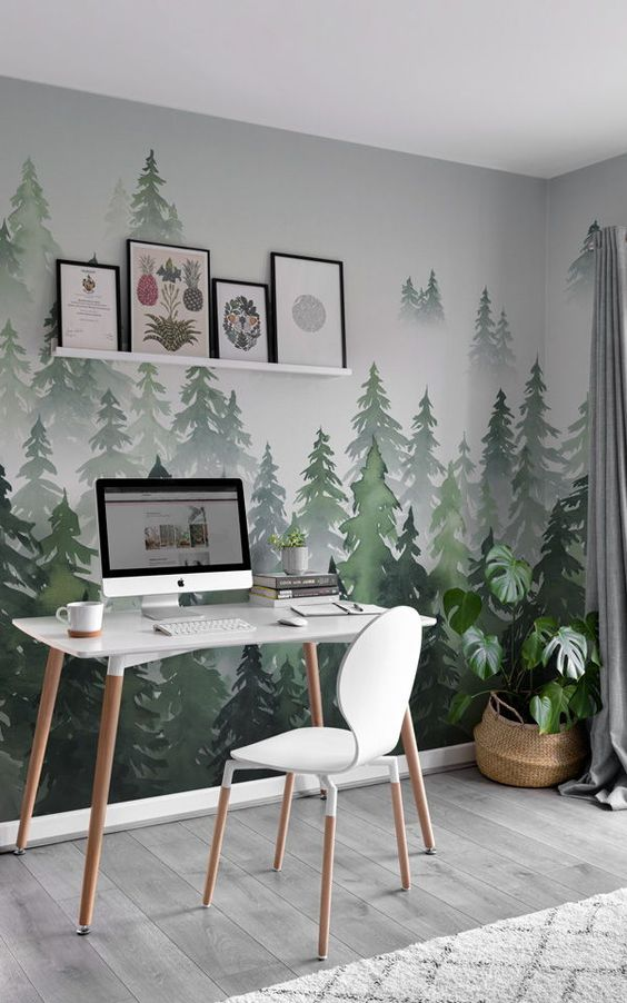 лес на стене роспись