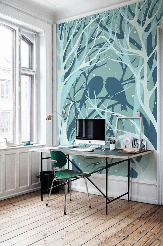 кабинет и лес на стене