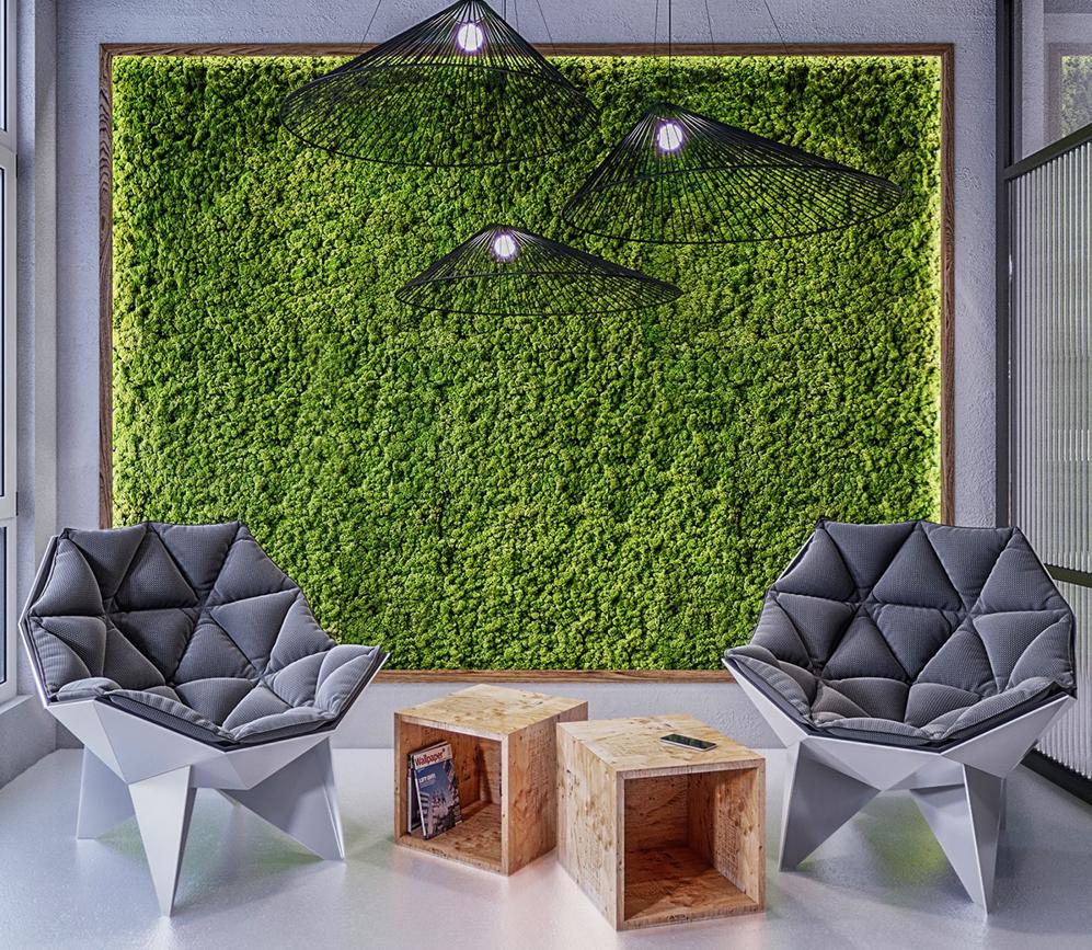 зеленое оформление офиса