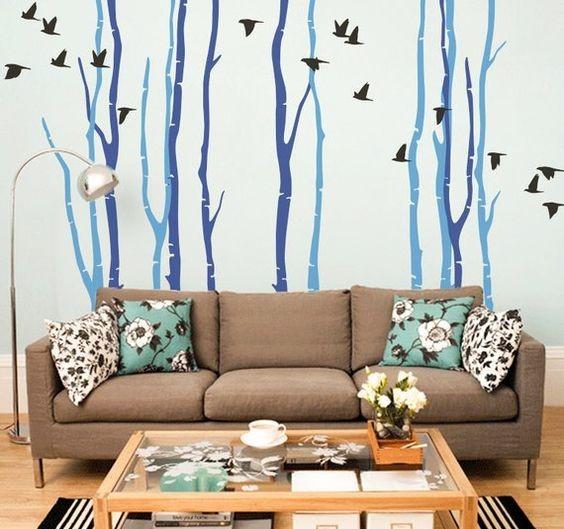 наклейка дерево на стену гостиной