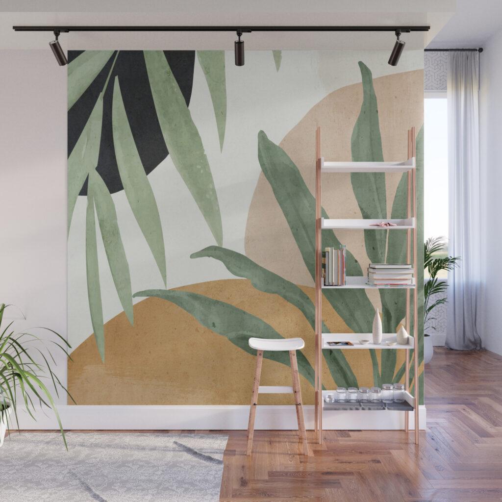 листья на стене квартиры