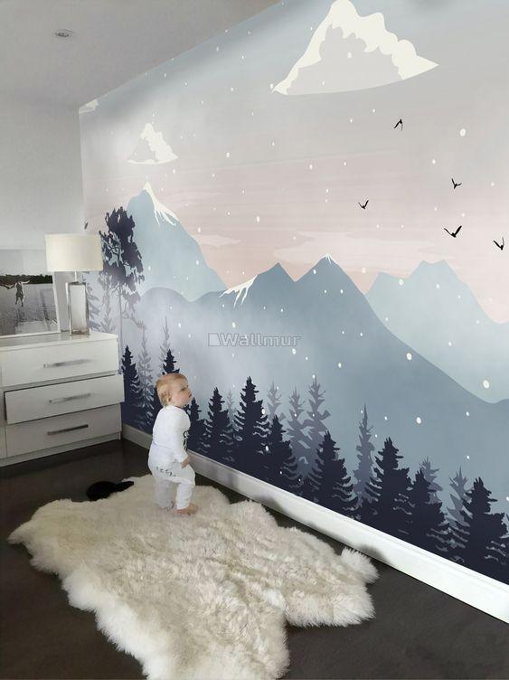 рисунок гор в детской комнате
