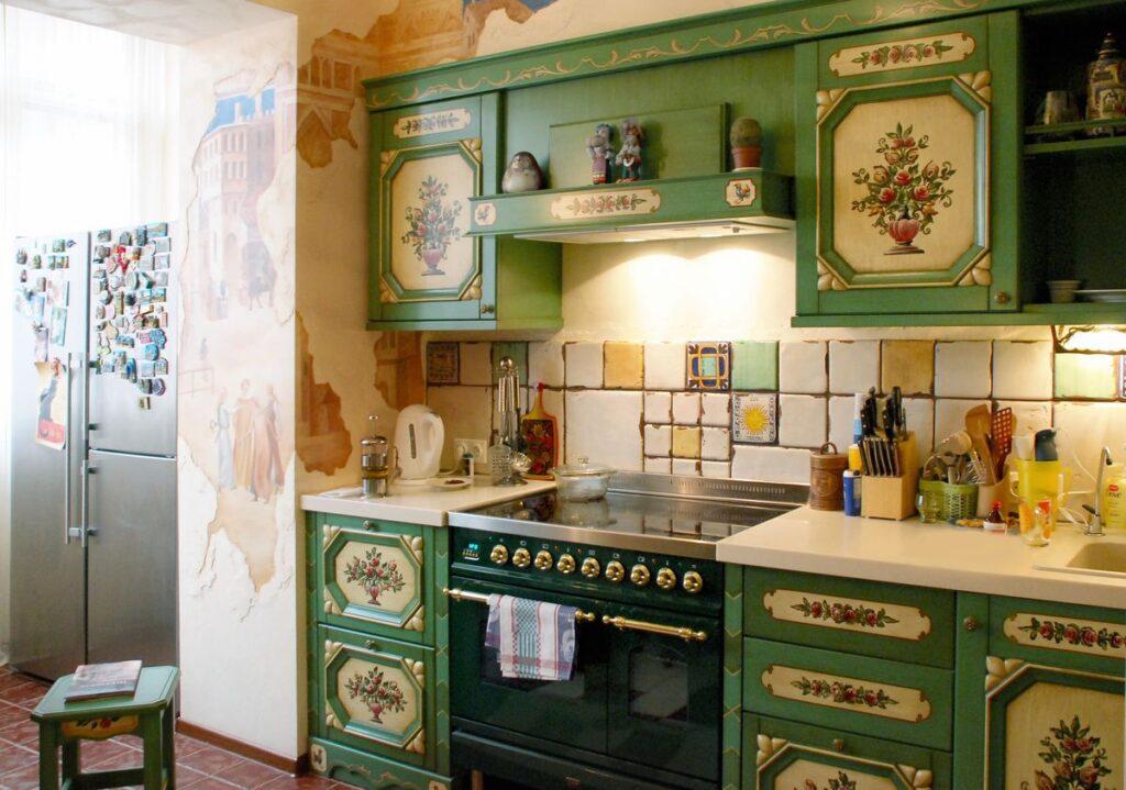 роспись кухонных шкафчиков