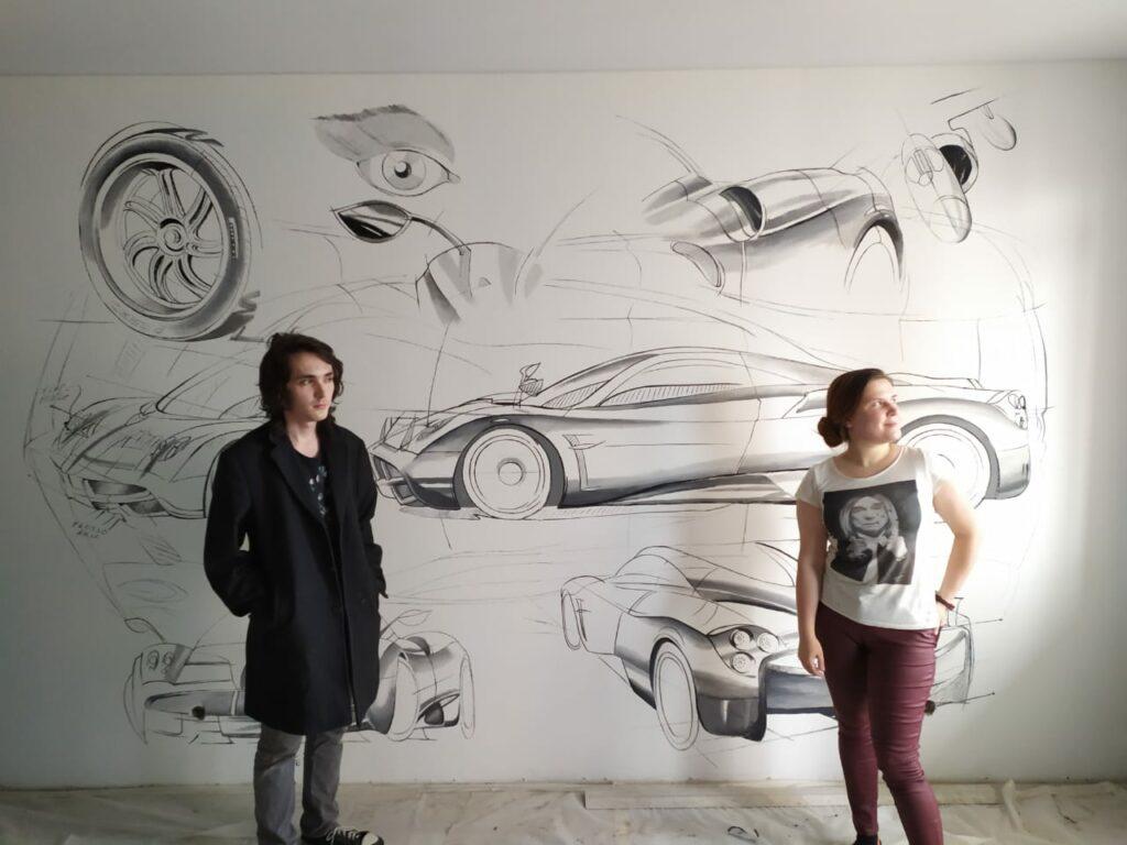 рисунок машины на стене детской мальчика