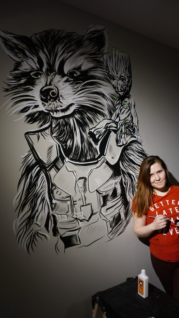 енот из стражей галактики на стене арт граффити