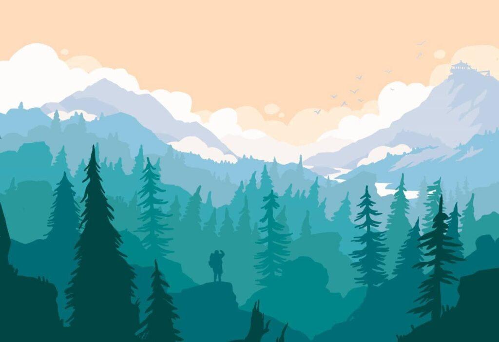 лес градиентом рисунок