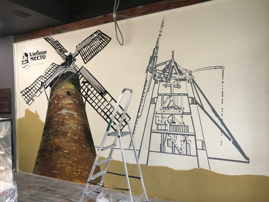 мельница рисунок в пекарне