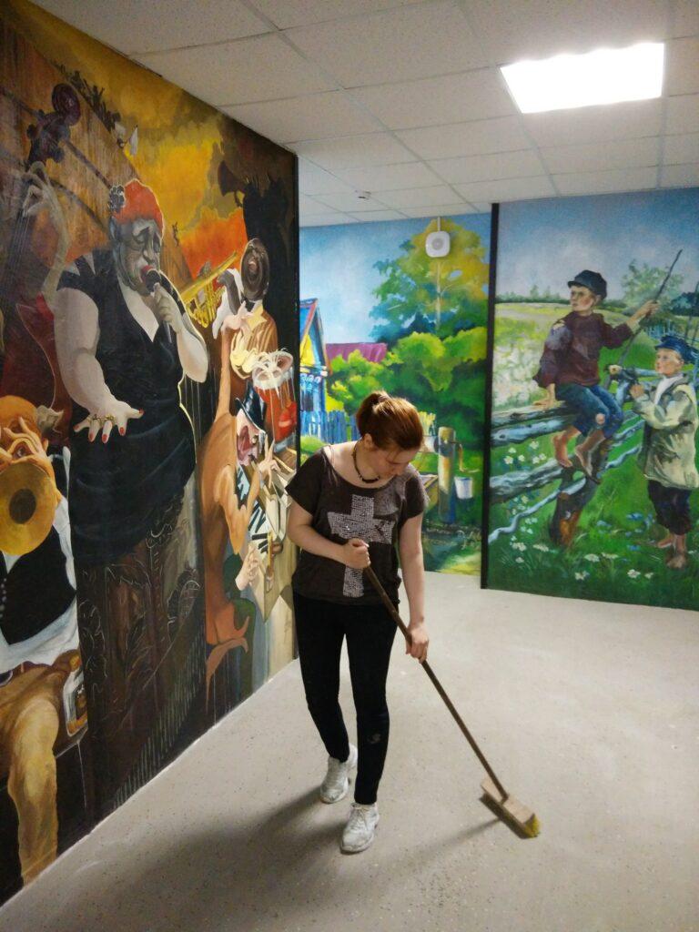 роспись стен в коридоре бизнес центра