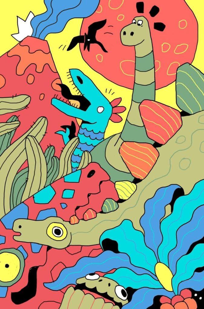 рисунок динозавров для детской