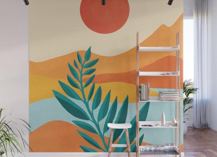 разноцветные горы на стене спальни