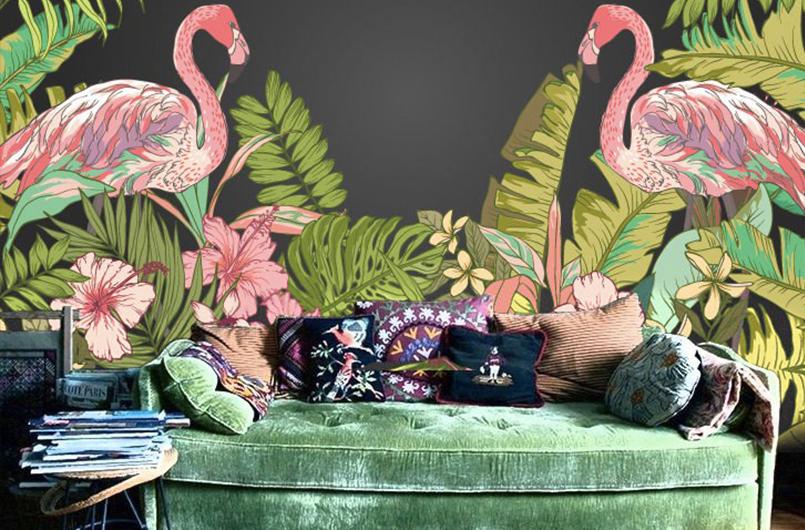 фламинго и листочки на стене